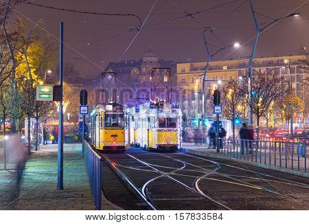 Christmas Light On Old Tram At Train Central Station in Budapest, Hungary.