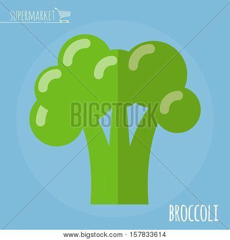 Broccoli.  Long shadow flat design vector icon.