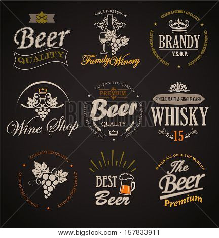 Set of badges and labels elements for alcohol drinks - vector illustration.
