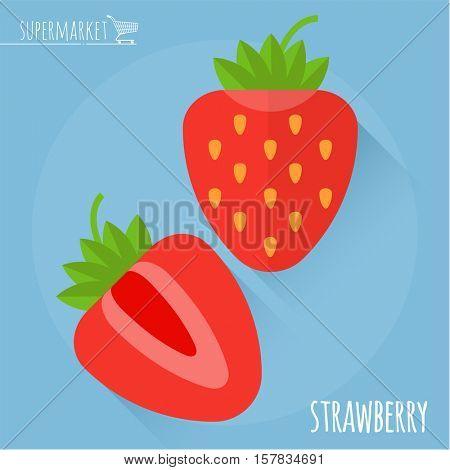 Strawberry. Long shadow flat design vector icon.