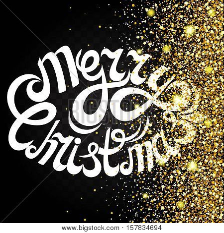 Effect of flying on the side of the gold luster luxury design rich background. Letter on a dark background. Stardust spark the explosion on a transparent background. Luxury golden texture. Vector illustration