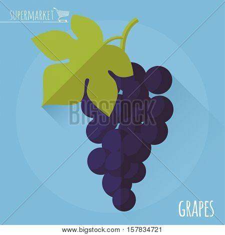 Grapes.  Long shadow flat design vector icon.