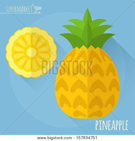 Pineapple.  Long shadow flat design vector icon.