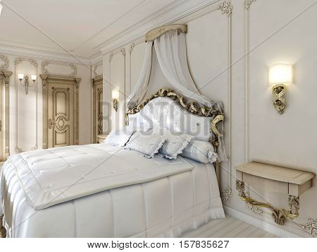 Great Classic Four-poster Bed And Soft White Comforter With Pillows.