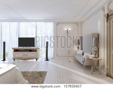 Luxurious Bedroom With A Large Sofa And Tv Unit The Large Window.