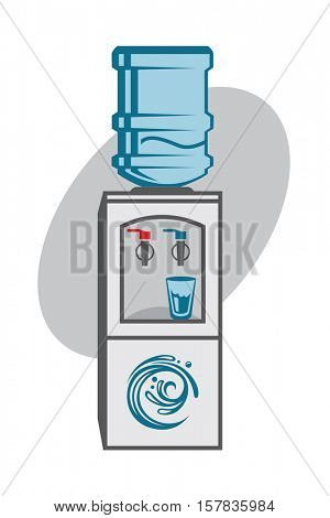 Water cooler illustration in the office. Vector illustration