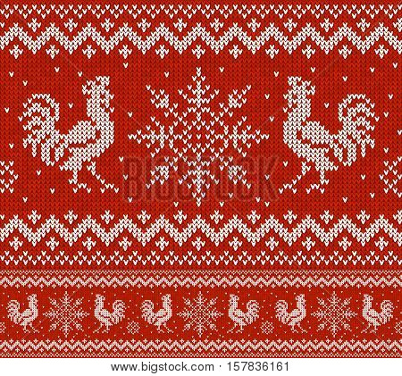 Red Holiday vector seamless pattern with knitted roosters and snowflakes. Christmas knitting scheme design. Cocks - symbol of New Year 2017.
