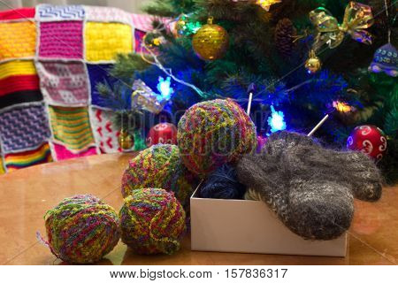Balls Of Yarn And Knitting Needles.