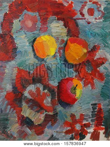 Oil painting. Still life with apples in the Impressionism style