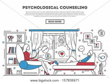 Psychological counseling website template vector illustration. Psychologist with patient on sofa. Therapy session in line art style. Mental problem and stress, psychiatrist, depression and therapy