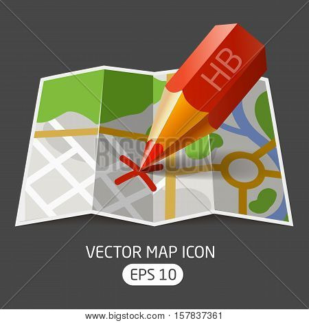 ector icon paper map with a red pencil mark made