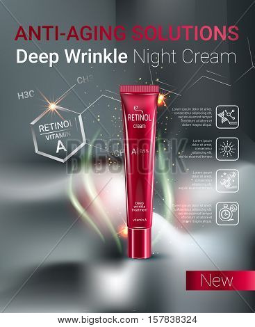 Retinol anti-aging cream ads. Vector Illustration with Vitamin A cream tube.