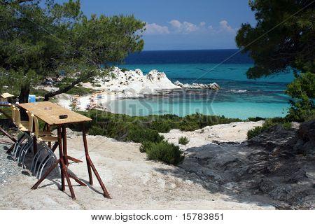 seashore with bar