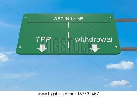 Get In Lane Trans-Pacific Partnership Concept: TPP Or Withdrawal Road Sign 3d illustration