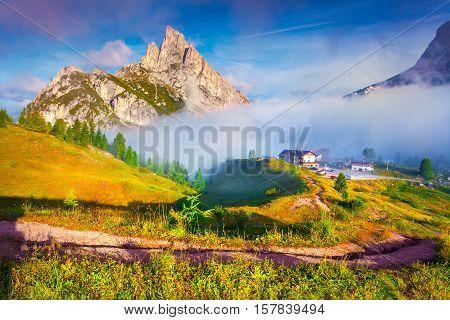 Fantastic Summer Landscape On The Sass De Stria Mountain Range