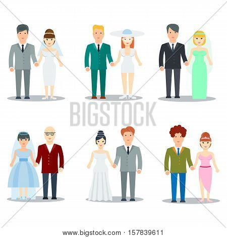 Newlyweds couple cartoon characters. Bride in wedding dress and fiance in tuxedo cartoon vector illustrations isolated on white set. Different colors and styles wedding clothes. Wedding fashion icon