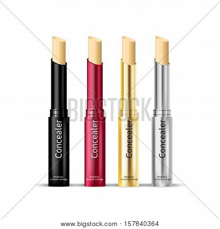 Concealer stick in different color of containers. Vector illustration realistic foundation product.