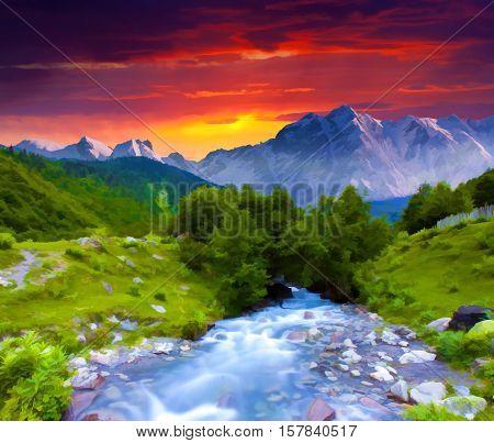 Digital artwork in watercolor painting style. Digital artwork in watercolor painting style.
