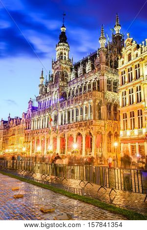 Brussels Belgium. Wide angle night scene of the Grand Place and Maison du Roi one of Europe finest historic squares and a must-see sight of Bruxelles.