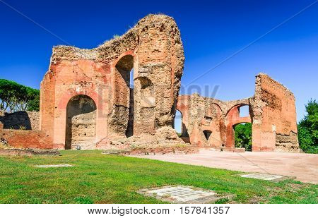 Rome Italy. Baths of Caracalla ancient ruins of roman public thermae built by Emperor Caracalla between 212 and 216AD.
