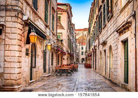 Dubrovnik Croatia. Dubrovnik old city street view (medieval Ragusa) in Stradum area.
