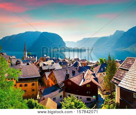 Colorful Summer Morning In The Hallstatt Village In The Austrian Alps