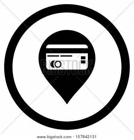 Credit Card Pointer vector rounded icon. Image style is a flat icon symbol inside a circle, black color, white background.