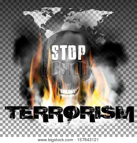 Stop terrorism in the fire smoke and skull with an inscription in a ragged style and World map. Isolated objects can be used with any image, text or background.