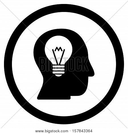 Intellect Bulb vector rounded icon. Image style is a flat icon symbol inside a circle, black color, white background.