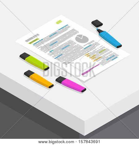many color marker mark on text in education business document on white working desk