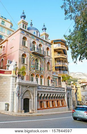 MONACO - FEBRUARY 21 2012: The splendid Villa Ispahan in Boulevard of Jardin Exotique decorated in Persian Style on February 21 in Monaco.