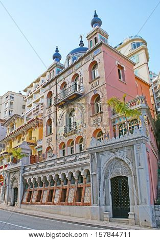 The historic Villa Danichgah nowadays named Villa Ispahan is the mansion built for Persian Prince richly decorated in Oriental style located in Boulevard of Jardin Exotique Monaco.
