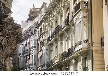 Valencia (Spain) facade of the Palace of Marques de Dos Aguas and other historic buildings