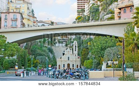 MONACO - FEBRUARY 21 2012: The St Devota Chapel located in the green gorge under the same named bridge on February 21 in Monaco.