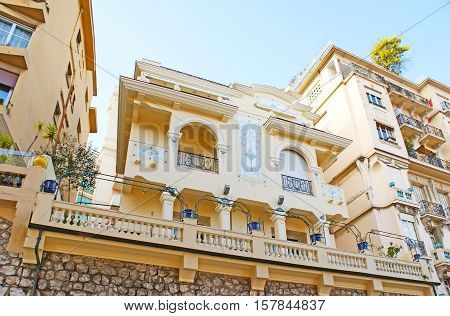 The residential quarters of La Condamine ward boasts scenic mansions in Mediterranean style located among the modern buildings Monaco.