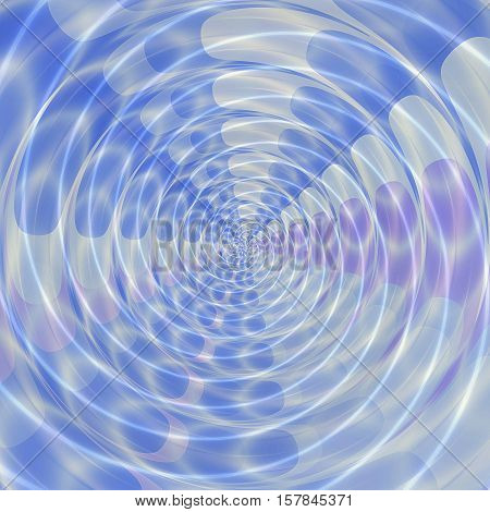 Abstract background of blue, pink and white concentric scalloped glowing shapes creating an illusion of movement. Background of concentric spirals and circular geometric shapes converging at one point
