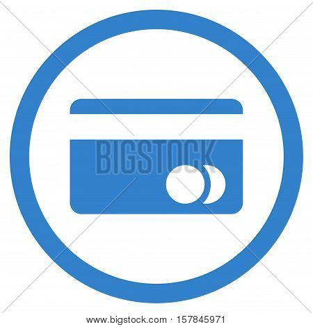 Banking Card vector rounded icon. Image style is a flat icon symbol inside a circle, cobalt color, white background.