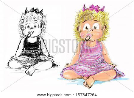 Pretty girl wear pink dress Her face is little smile has tube feeding and acting is sit down crtoon hand draw pencil sketh and paint.