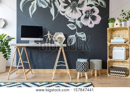 Home Workspace With Diy Regale