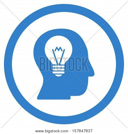 Intellect Bulb vector rounded icon. Image style is a flat icon symbol inside a circle, cobalt color, white background.