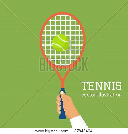Tennis player racket hit the ball. Man playing a sports game. Sports lifestyle. Vector illustration flat design. Hold the racquet in hand. Isolated on background. Leisure.