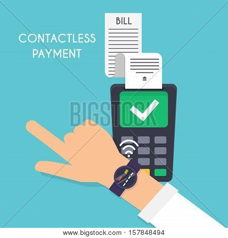 Contactless payment. Male pay with smart watch. Illustration payment system on wearable bracelet devices concept. Flat design modern vector illustration concept.