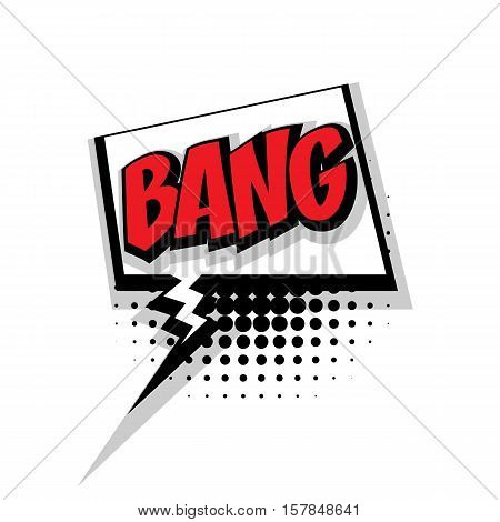 Lettering bang. Comic text sound effects pop art style vector. Sound bubble speech phrase comic text cartoon expression sounds illustration. Comic text background template