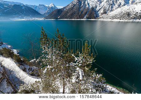 Mountain lake view snow landscape in the Alps Austria Achensee Tirol.