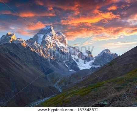Colorful Autumn Sunrise In The Caucasus Mountains.