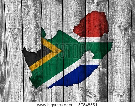 Map And Flag Of South Africa On Weathered Wood