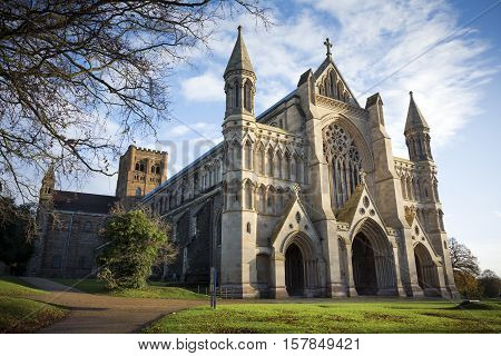 St Albans cathedral on sunny day in Hertfordshire