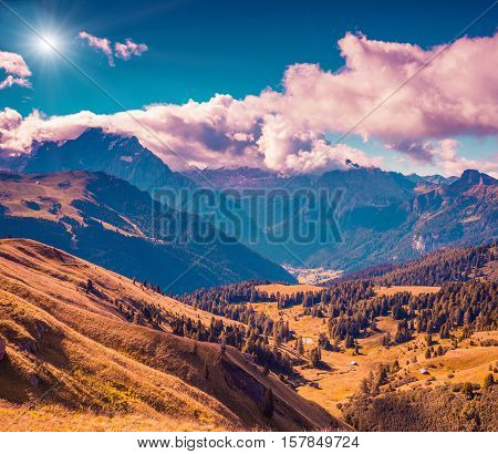 Sunny Autumn Morning In Italy Alps.