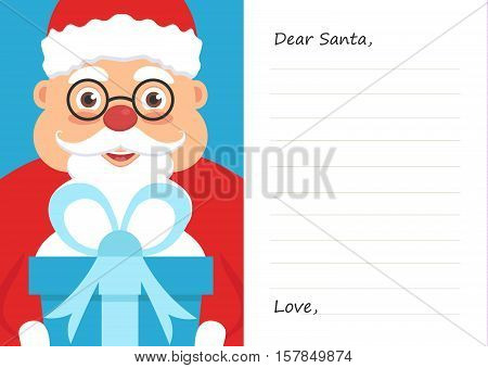 Letter Dear santa claus for Merry Christmas or New year. Postcard or greeting card template.