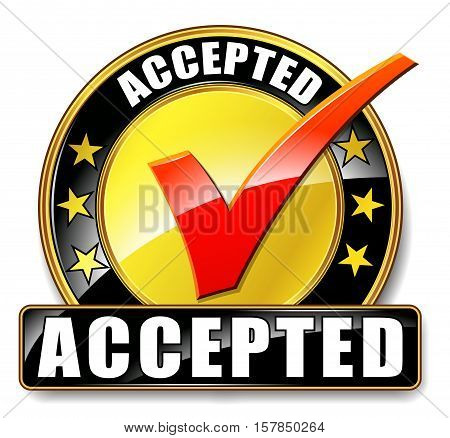 Illustration of accepted icon on white background